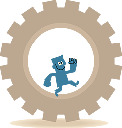 cartoon image of a little blue man running inside a large gear